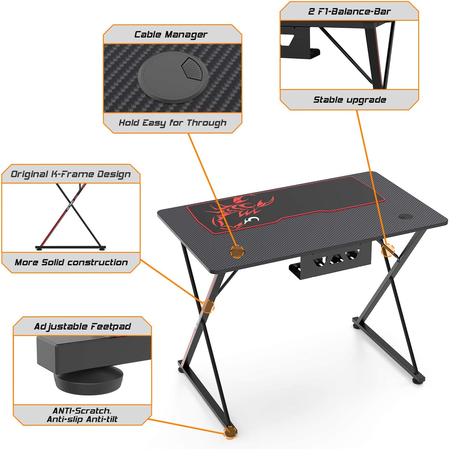 Black X-Shape Computer Desk with Free Mouse pad DESIGNA 31 Gaming Desk Gamer Workstation for Home Office Cup Holder/& Headphone Hook /& Controller Stand