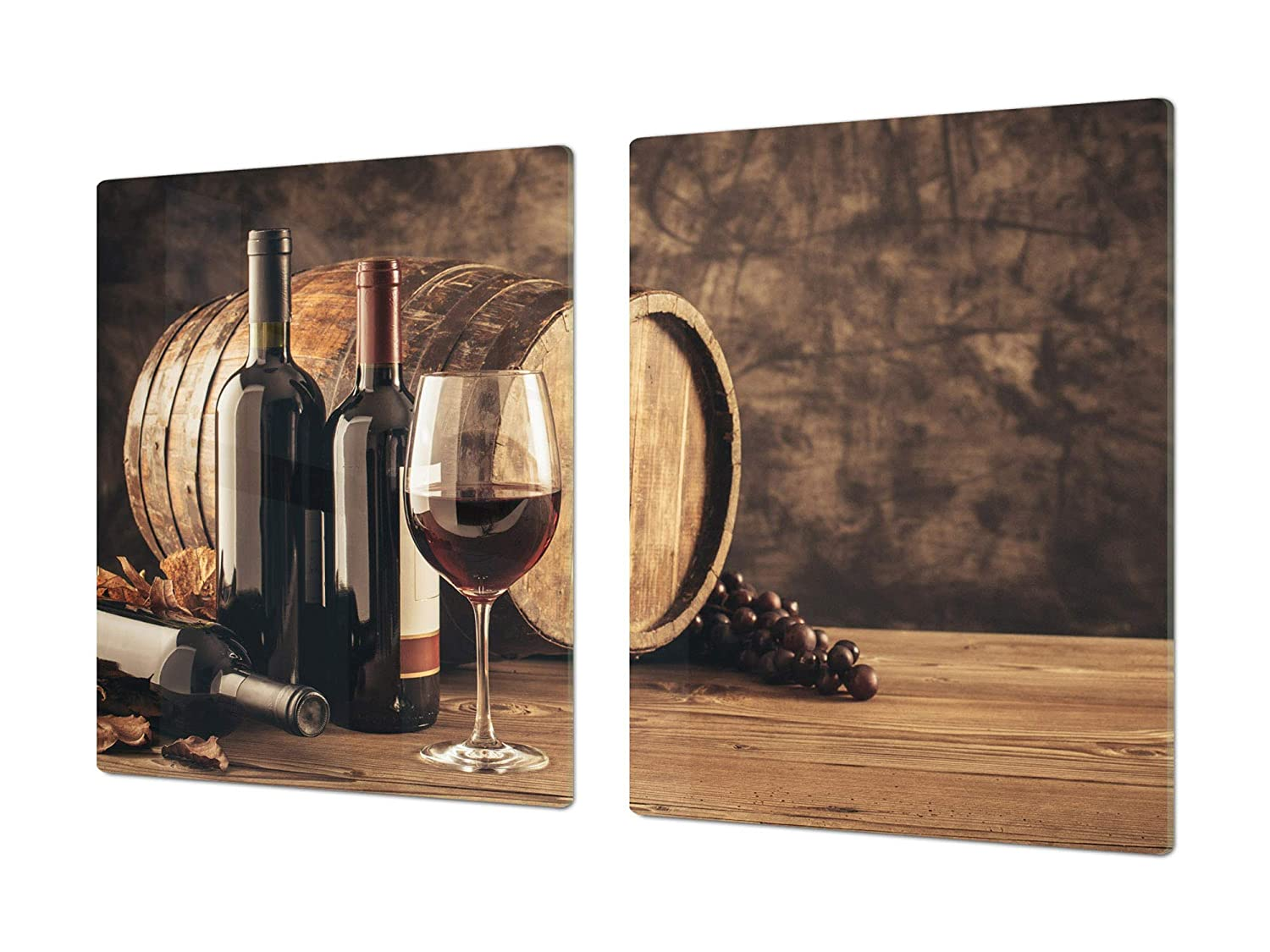 Bottles of wine 2 2x40x52 Big Kitchen Board & Induction Cooktop Cover – Glass Pastry Board – Heat and Bacteria Resistant;Single  80 x 52 cm (31,5  x 20,47 ); Double  40 x 52 cm (15,75  x 20,47 ); Wine Series DD04