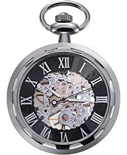 Carrie Hughes Mens Antique Bronze-Tone Open face Steampunk Skeleton Mechanical Pocket Watch with Chain