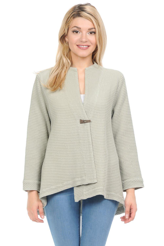 Focus Fashion Women's Cotton Waffle One Button Swing Jacket & Mini Waffle Hooded (XL, Sage)