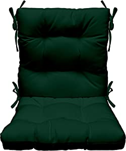 RSH Décor Indoor Outdoor Tufted High Back Chair Cushion, Choose Color (Hunter Green)