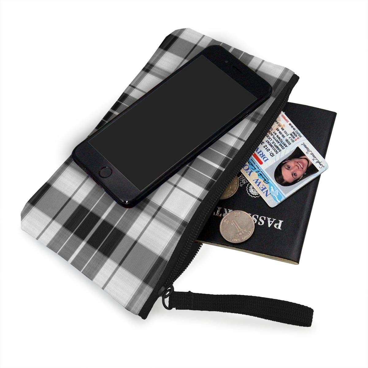 Coin Pouch Scottish Black And White Plaid Canvas Coin Purse Cellphone Card Bag With Handle And Zipper