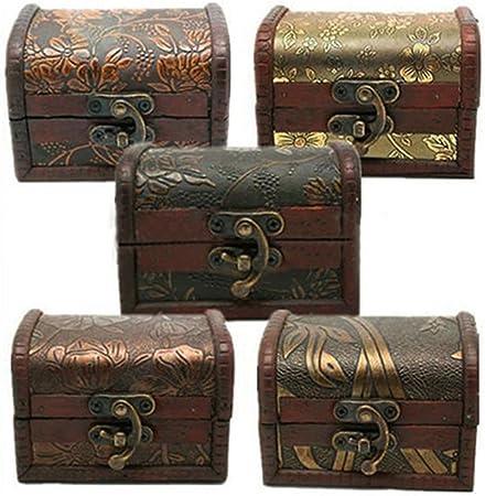Caja de almacenamiento de madera con cerradura de metal, con forma de cofre del tesoro y de estilo vintage: Amazon.es: Hogar
