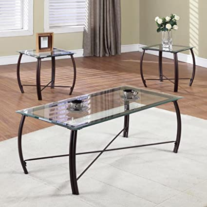 Amazoncom K B Furniture T Piece Cocktail And End Table Set - Cocktail end table sets