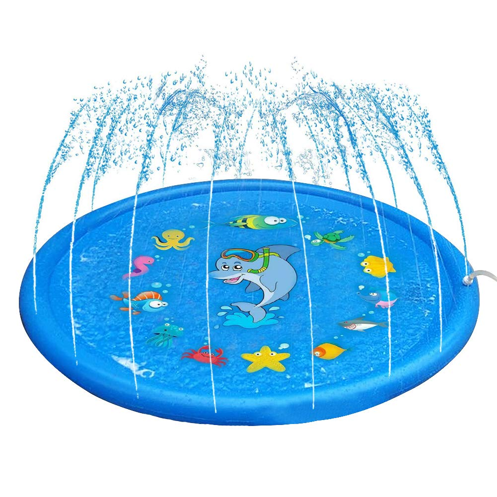 Winterworm 68-in Blue Splash Play Mat /&Sprinkler Pad Summer Outdoor Water Play for Children Infants Toddlers Boys Girls and Kids