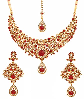 Touchstone Indian bollywood maroon white classic wedding wear jewelry necklace set in antique gold tone FbSjlI