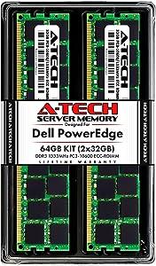 A-Tech 64GB (2x32GB) RAM for Dell PowerEdge R320, R420, R420XR, R520, R620, R720, R720XD, R820, R920 | DDR3 1333MHz ECC-RDIMM PC3-10600 4Rx4 1.5V ECC Registered DIMM Server Memory Upgrade Kit
