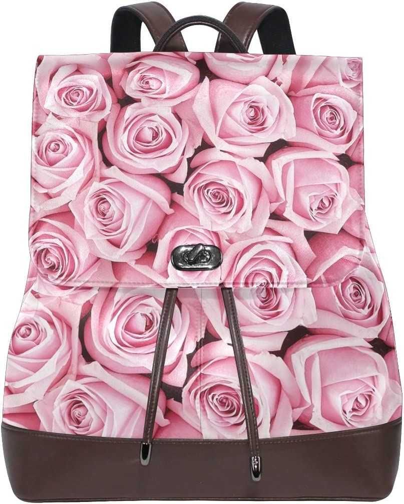 KUWT Pink Roses PU Leather Backpack Photo Custom Shoulder Bag School College Book Bag Rucksack Casual Daypacks for Women and Girl