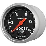 Auto Meter (3302) Sport Comp 2-1/16' 0-15 PSI Mechanical Boost Gauge
