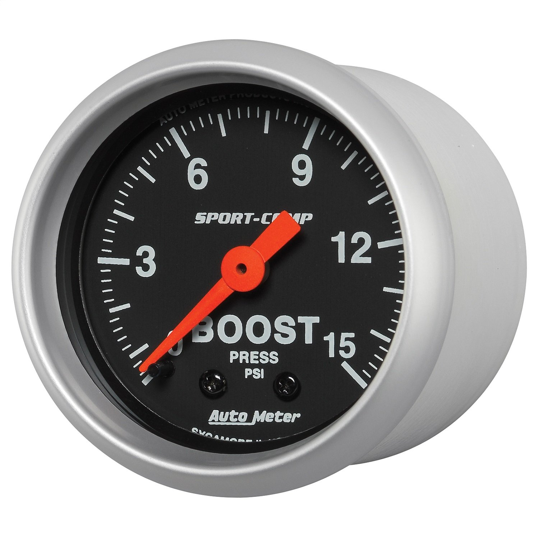 Auto Meter (3302) Sport Comp 2-1/16'' 0-15 PSI Mechanical Boost Gauge