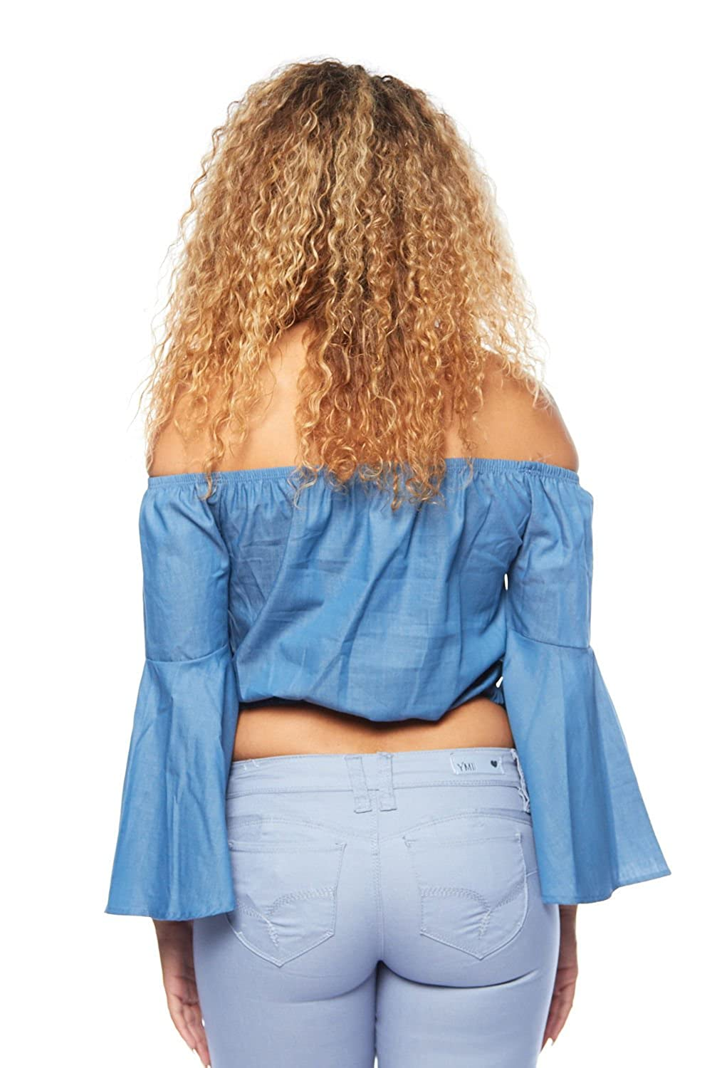 a81c4528fc9d56 GENx Womens Off Shoulder Denim Bell Sleeves Crop Top Blouse MT60270 at  Amazon Women s Clothing store