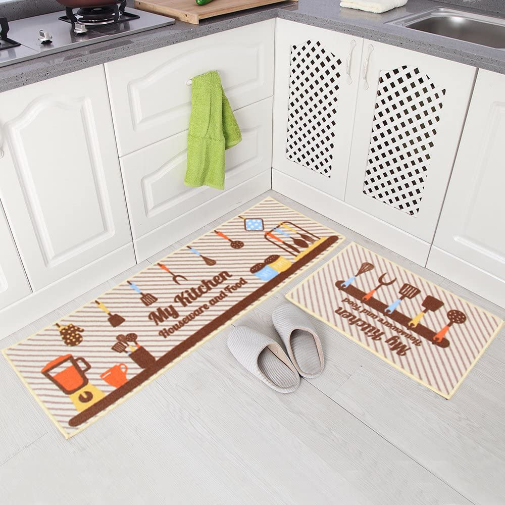 "Carvapet 2 Piece Non-Slip Kitchen Mat Rubber Backing Doormat Runner Rug Set, Kitchenware and Food Design (Beige 15""x47""+15""x23"")"