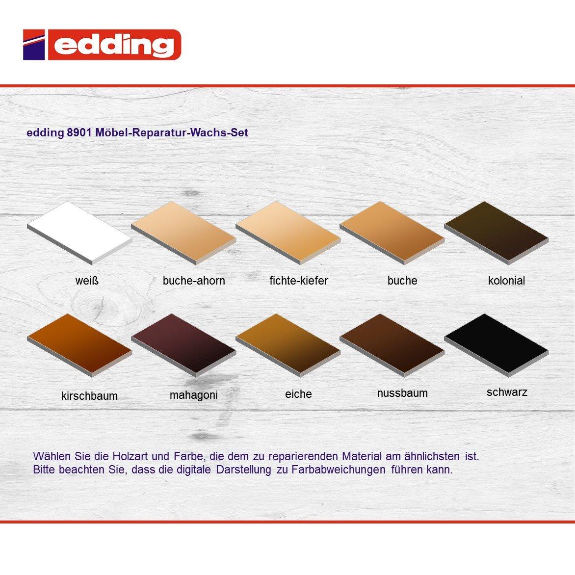 Edding 8901 Möbel Reparatur Wachs Set 3 Mischbare Farben Weiß