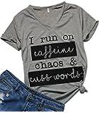 I Run On Coffee Chaos Cuss Words T Shirt Women Funny Short Sleeve T-Shirt Mom Gift
