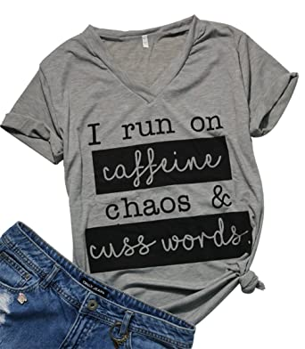 22d8a72379 MAXIMGR Womens I Run On Coffee Chaos Cuss Words Funny V-Neck Short Sleeve  Summer