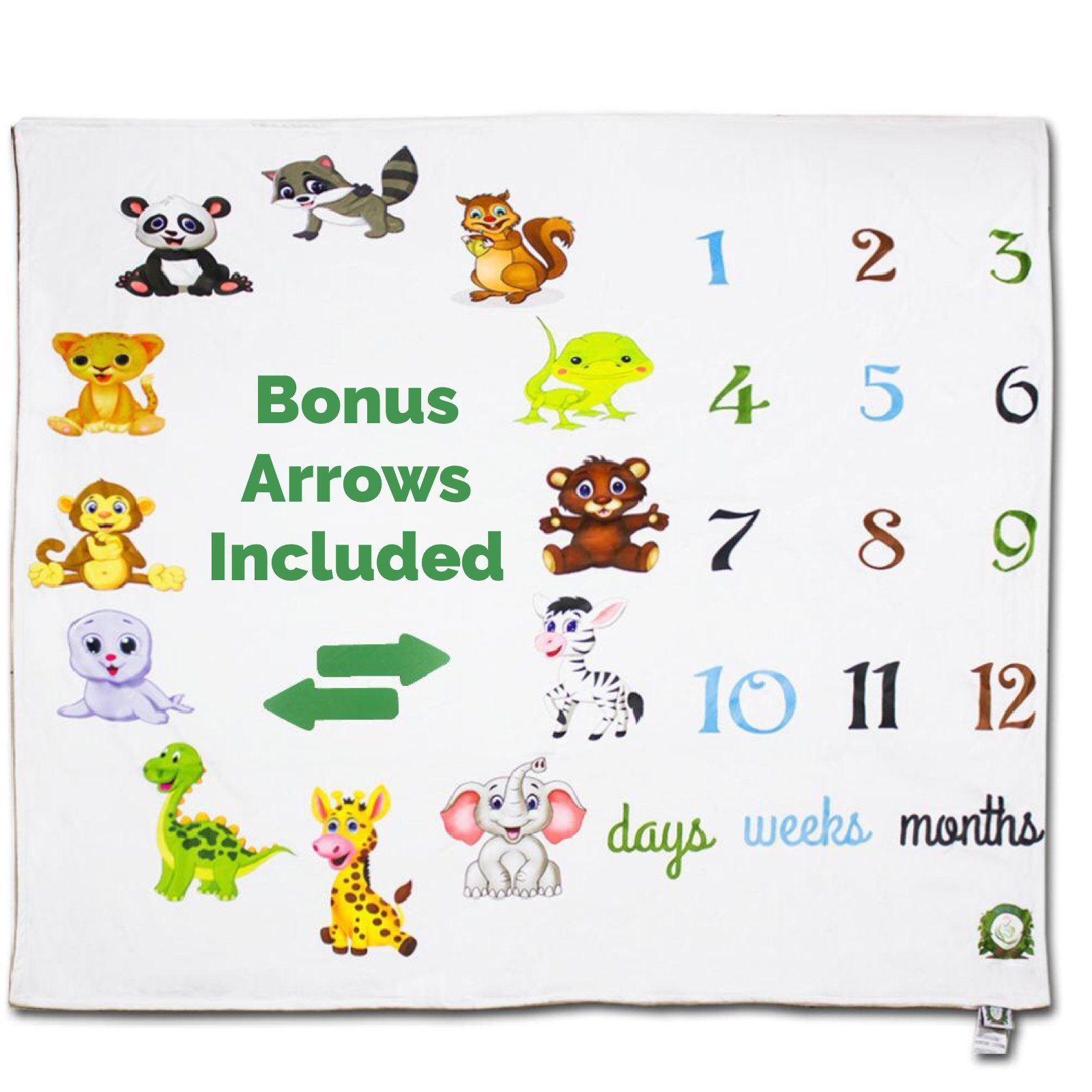 Spunky Sprouts Premium Double Layer Milestone Growth Blanket (WOOD ARROWS INCLUDED) Large Size. Weeks & Months-Great Gift For Newborns and Expecting Moms Photography for Boys or Girls by Spunky Sprouts (Image #5)