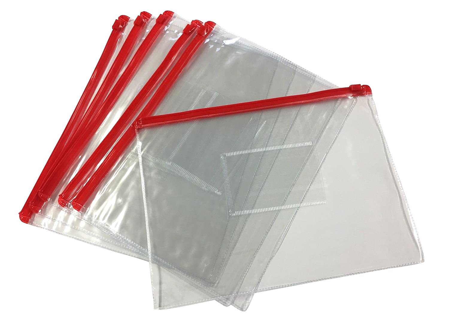 Pack of 12 A5 Red Zip Zippy Bags - Document Clear Plastic Transparent Storage Wallet