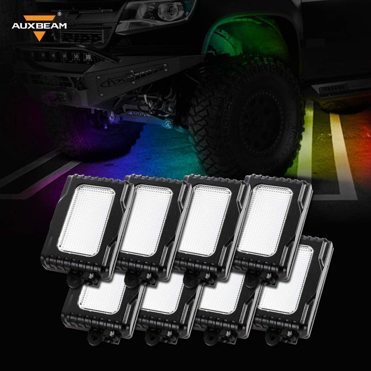 AUXBEAM CREE LED Multi-Color Rock Lights Under Body Bluetooth SUV ATV UTV Boat