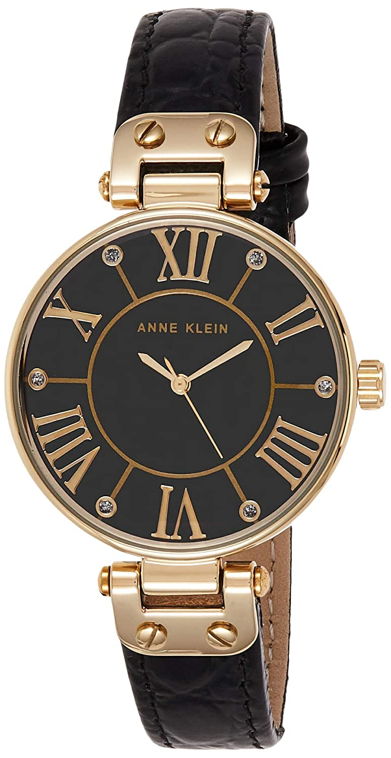 Anne Klein AK 1396BMBK Black and Gold-Tone Leather Croco-Grain Strap Watch