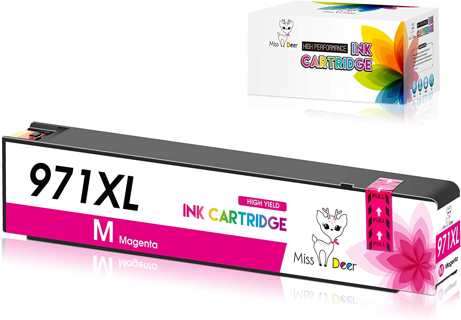 Miss Deer 970XL 971XL 970 971 Black Compatible Ink Cartridges Replacement for HP 970 971 XL,Work for HP Officejet Pro X576dw X451dn X451dw X476dw X476dn X551dw Printer (1 Magenta)