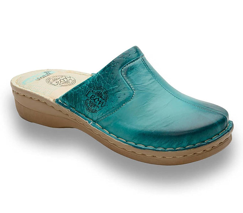 LEON 360 Zuecos Zapatos Zapatillas de Cuero para Mujer 41 EU Turquesa