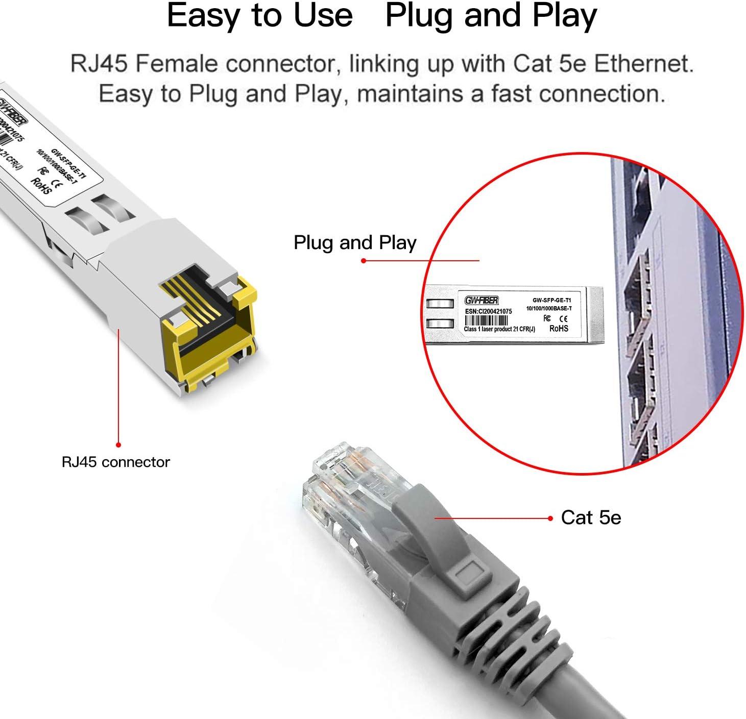 rj45 sfp 4PCS Copper Module GLC-T SFP-GE-T 10//100//1000Mbps SFP Copper 100m Gigabit Transceive for Cisco Ubiquiti