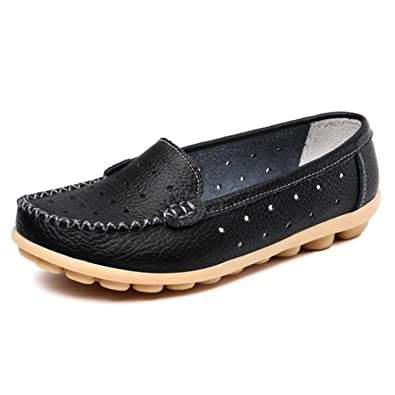 Surprising Day Women Flats New Leather Mother White Nurse Shoe Peas Work Flat Shoes Comfortable Women Shoes Loafers Slip Home black h 4.5