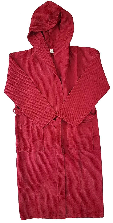 Ilkadim Unisex Waffle Pique Bath Robe with Hood for Men and Women Waffle Pattern Size S - XXXXL 100% Cotton Hooded Bathrobe, Cotton, blue, Small