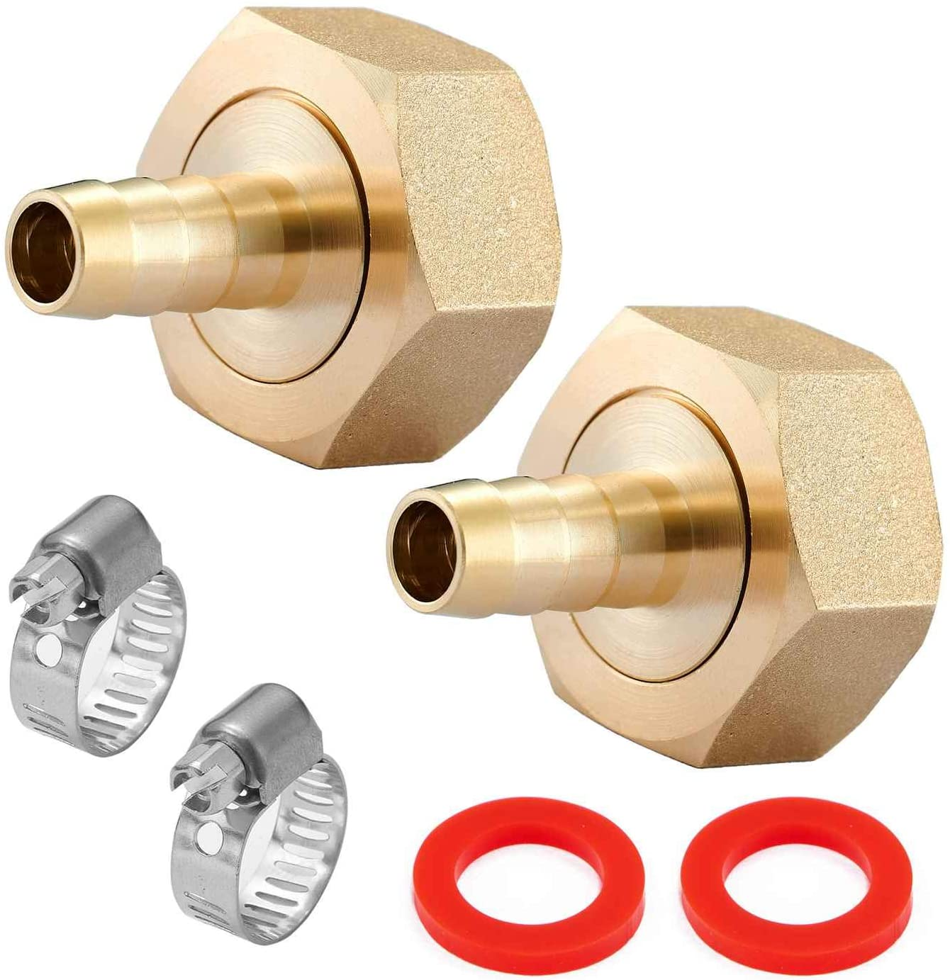 Minimprover 4PCS Lead Free Brass Water Hose Pipe Swivel Connector,3/8