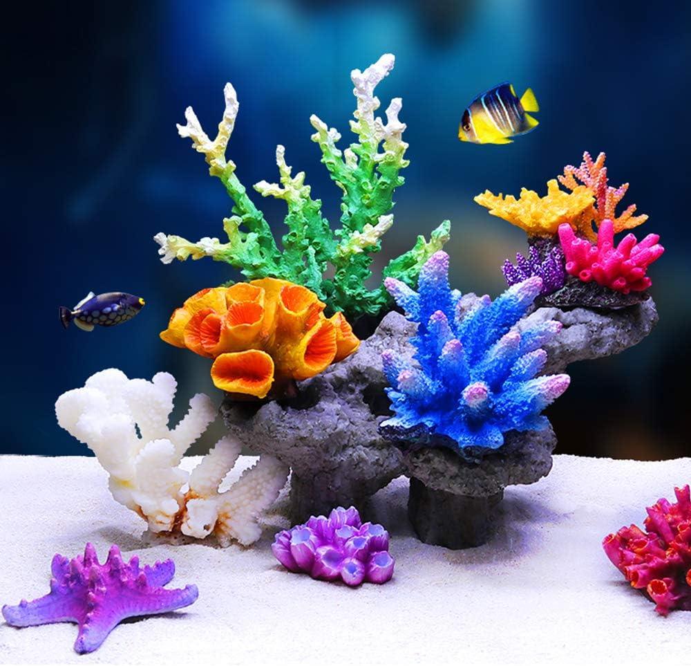 Danmu 1Pc of Polyresin Coral Ornaments, Aquarium Coral Decor for Fish Tank Aquarium Decoration 6 3/5