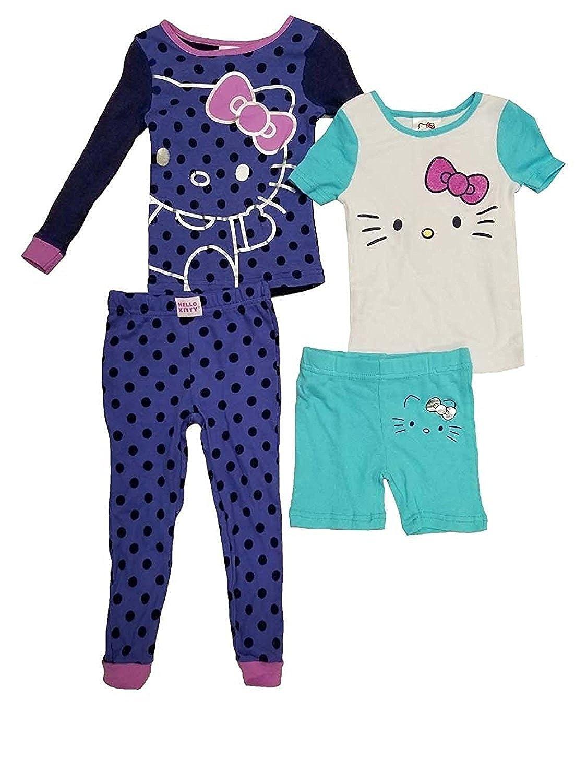 06d1329ce Amazon.com: Komar Kids Hello Kitty Girls' 4-Piece Cotton Pajamas Sleepwear  Set with Shorts and Pants: Clothing