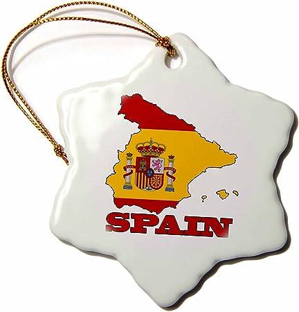 3dRose ORN_63206_1 - Figura Decorativa de la Bandera de España en el Mapa del país y el Nombre de España, diseño de Copo de Nieve Decorativo, Porcelana, 7,6 cm: Amazon.es: Hogar