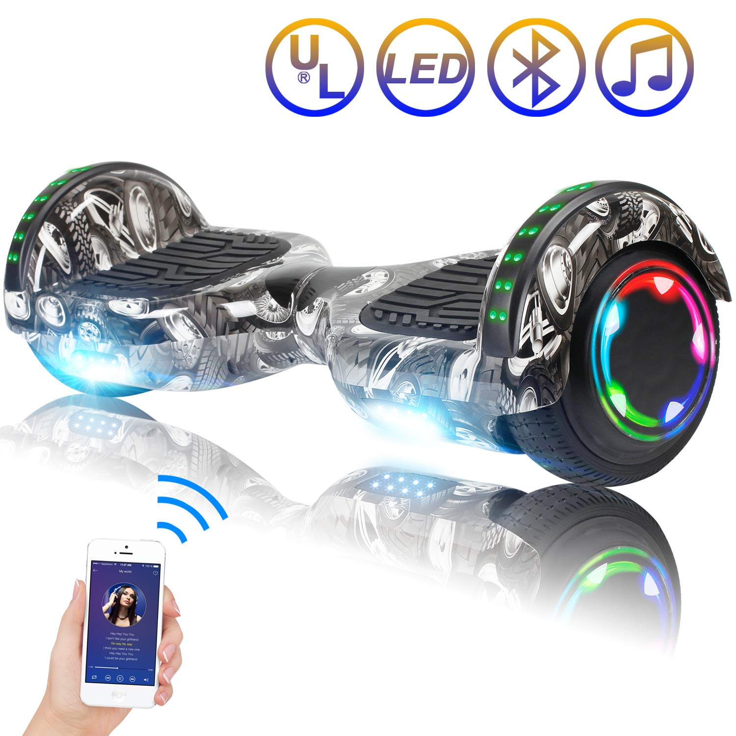Hoverboard Self Balancing Scooter 6.5'' Two-Wheel Self Balancing Hoverboard with Bluetooth Speaker and LED Lights Electric Scooter for Adult Kids Gift UL 2272 Certified Fun Edition - Tire Graffiti