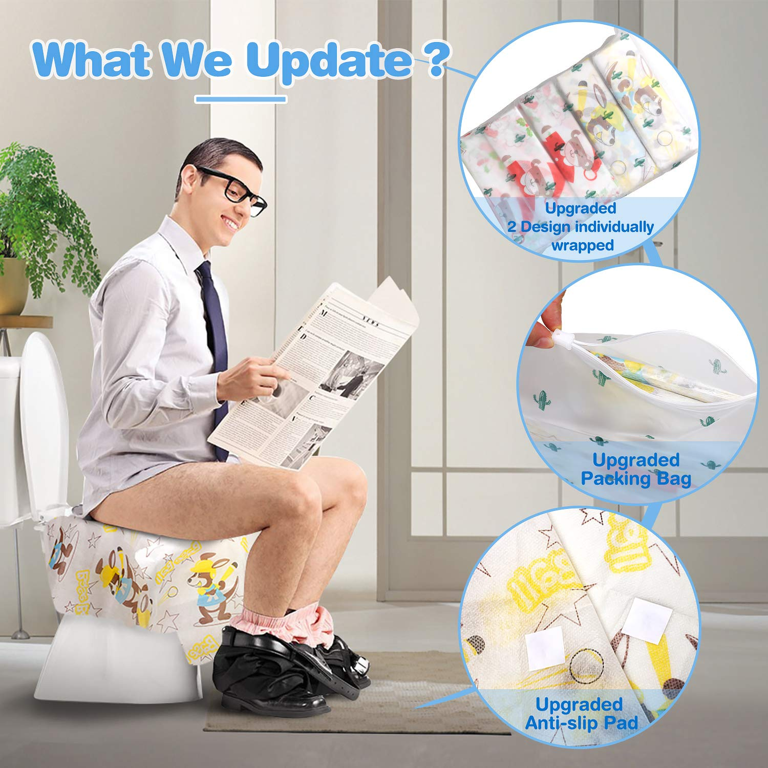 Cartoon Disposable Toilet Seat Covers Extra Large 20 Packs Perfect for Adults and Kids Potty Training with Individually Wrapped Home Travel Use