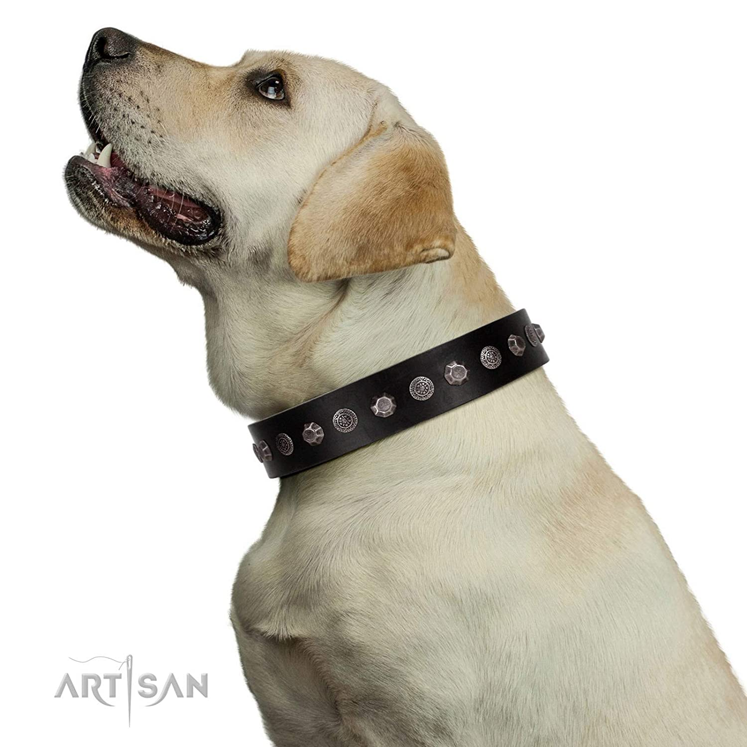 Fits for 22 inch (55cm) dog's neck size FDT Artisan 22 inch Handmade Black Leather Dog Collar with Silver-Like Studs Black Knight 1 1 2 inch (40 mm) Wide Gift Box Included