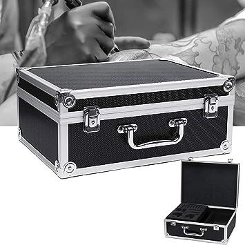 HELEISH Aleación de aluminio Accesorio para tatuaje Caja de herramientas Estuche de almacenamiento duro para llevar Bolsa de maquillaje Estuche para tatuaje Herramienta accesoria: Amazon.es: Bricolaje y herramientas