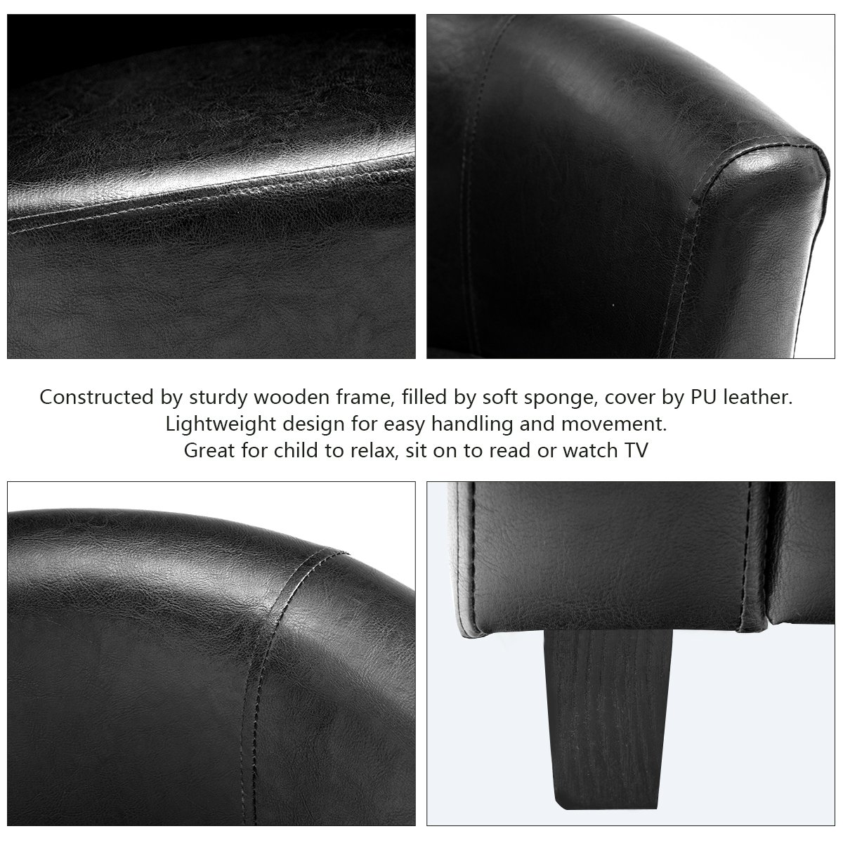 Costzon Kids Sofa Tub Chair Couch Children Living Room Toddler Furniture (PU Leather, Black) by Costzon (Image #3)