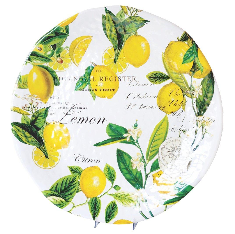 Michel Design Works Melamine Large Round Serving Platter, Lemon Basil
