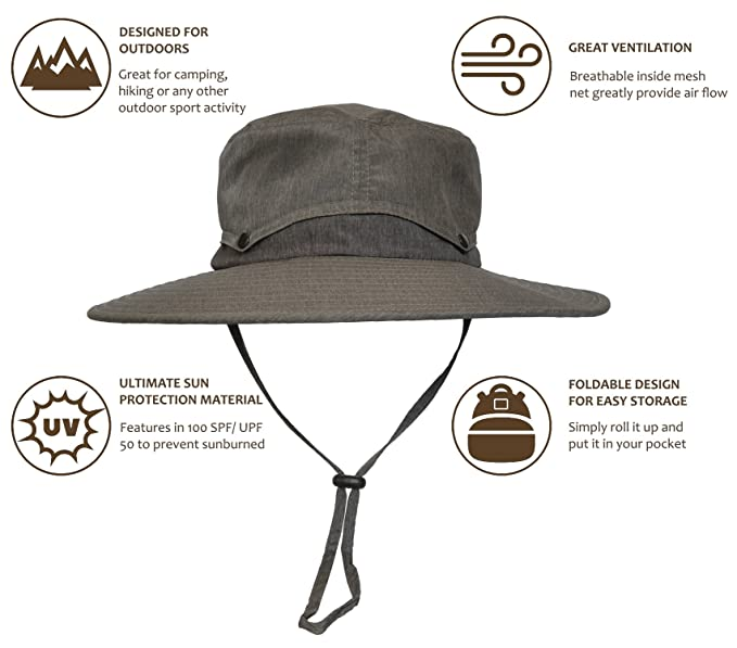 3498a914976 Sun Protection Safari Hat Wide Brim Fishing Hiking Boonie Cap for Men Women  Dark Grey at Amazon Men s Clothing store