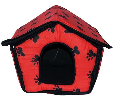 Caseta de Tela Plegable/ Cuna Perro/ Habitación Portátil/ Nido Mascota para Perros, Gatos Pequeños con forma de casa (ROJO, M): Amazon.es: Hogar