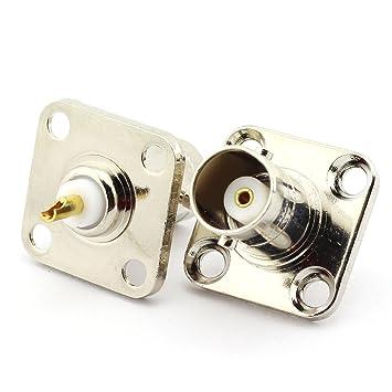 Oiyagai - 2 adaptadores de conector BNC hembra a conector de panel de soldadura con 4 agujeros, adaptador de conector RF para cable coaxial: Amazon.es: ...