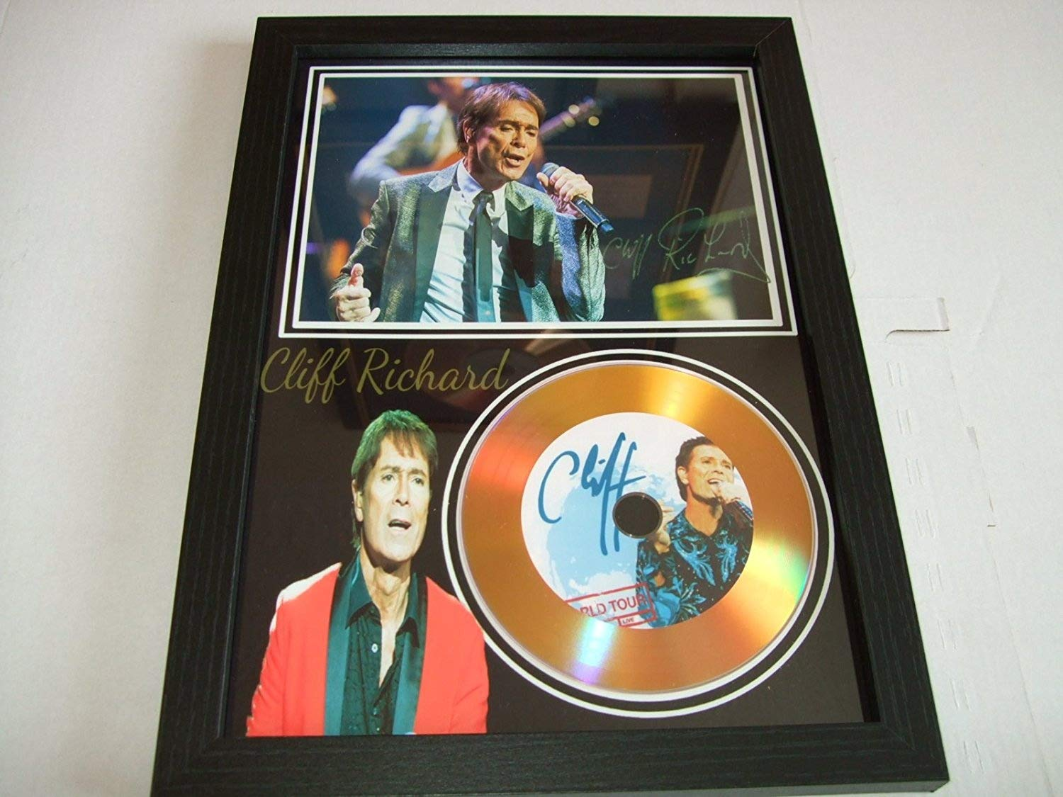 cliff richard signed gold disc home disc