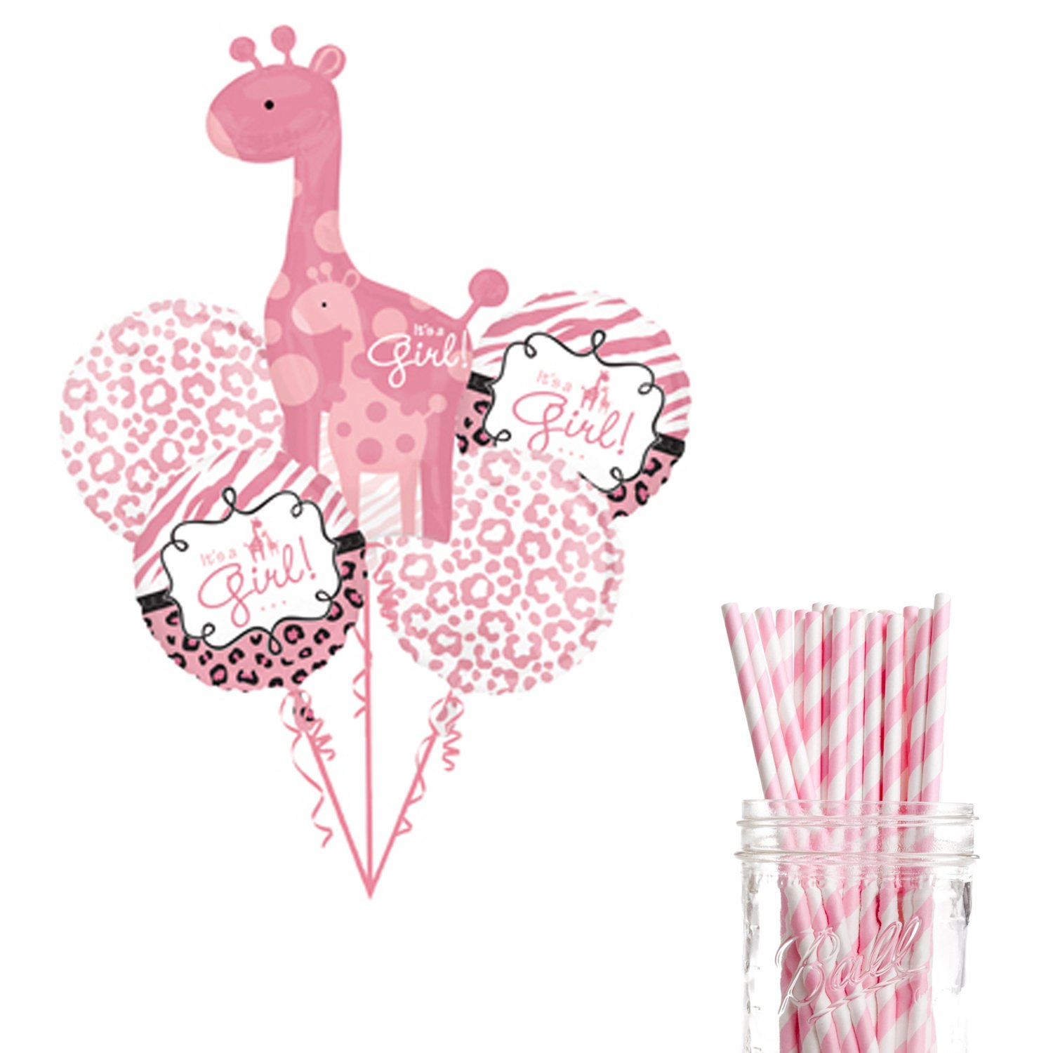 Dress My Cupcake Party Decoration Kit with Straws and Balloons, Safari Jungle Girl Baby Shower