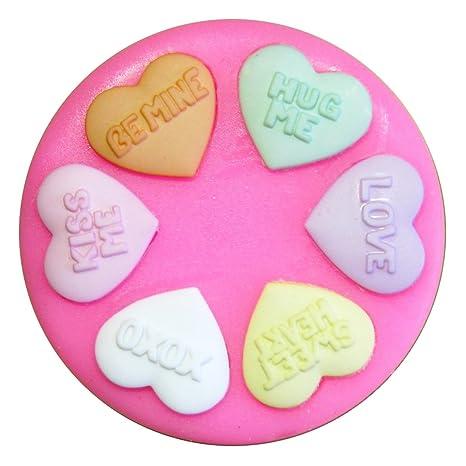 Amor Corazones Dulces Molde de silicona para la torta de Decoración Pastel de Cupcake Toppers Glaseado