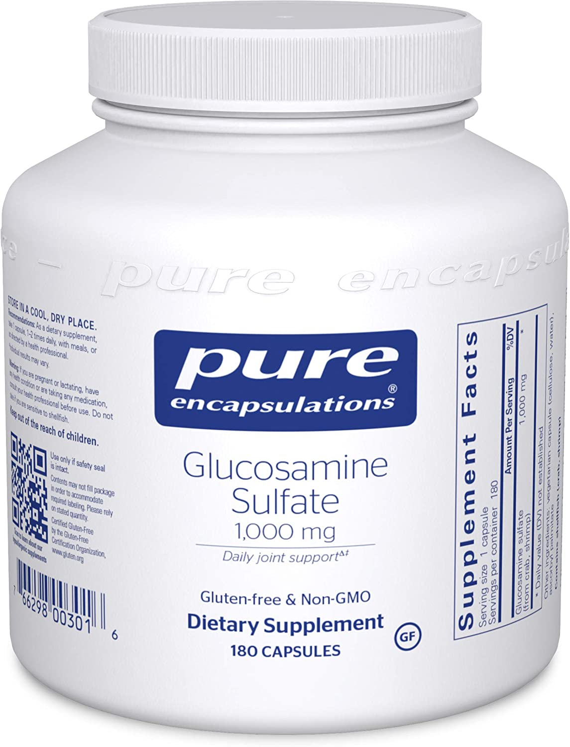 Pure Encapsulations - Glucosamine Sulfate 1000 mg - Dietary Supplement Supports Healthy Cartilage and Joint Function - 180 Capsules