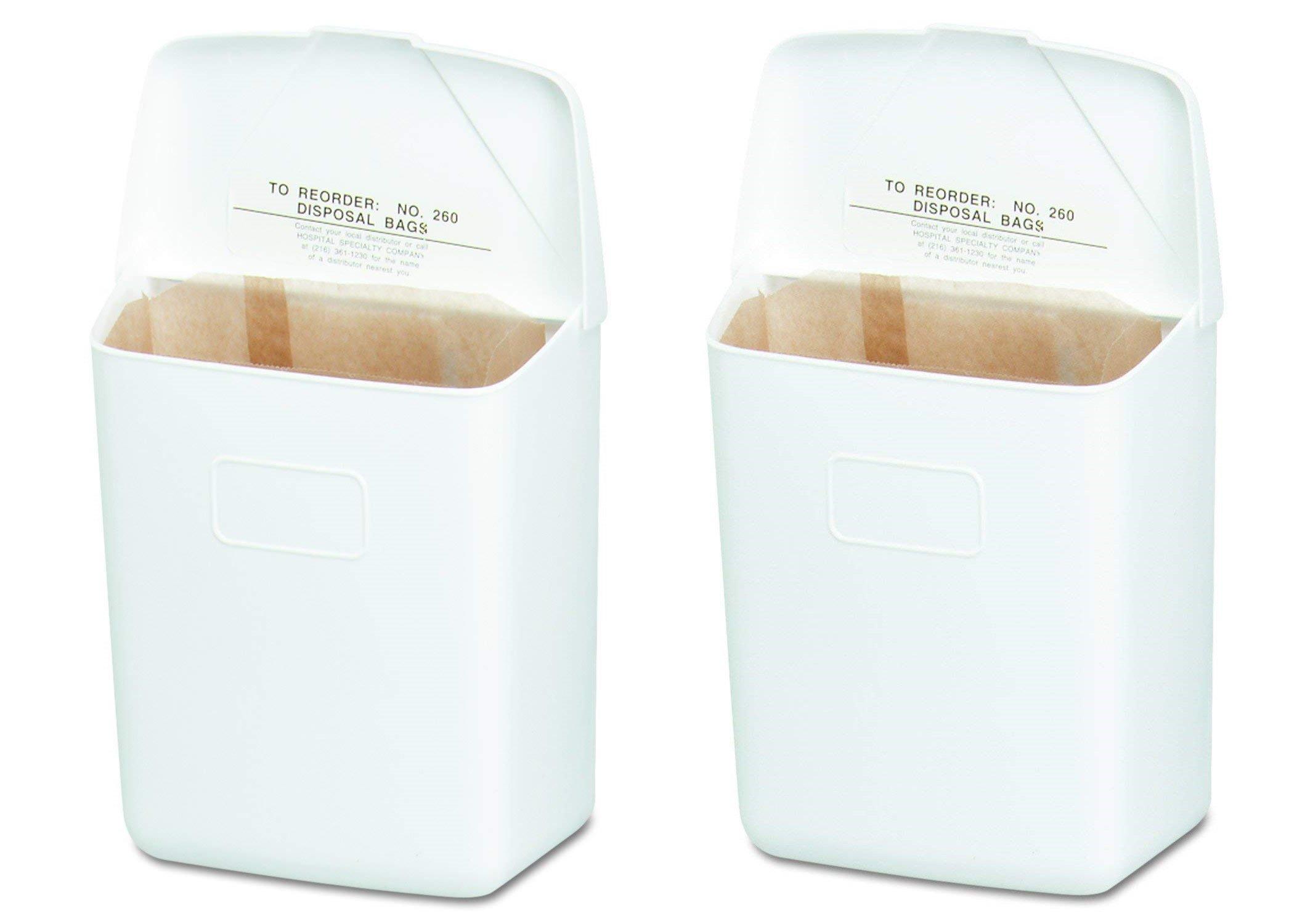 Hospeco Feminine Hygiene Receptacle, White ABS Plastic, 250-201W (2-Pack)