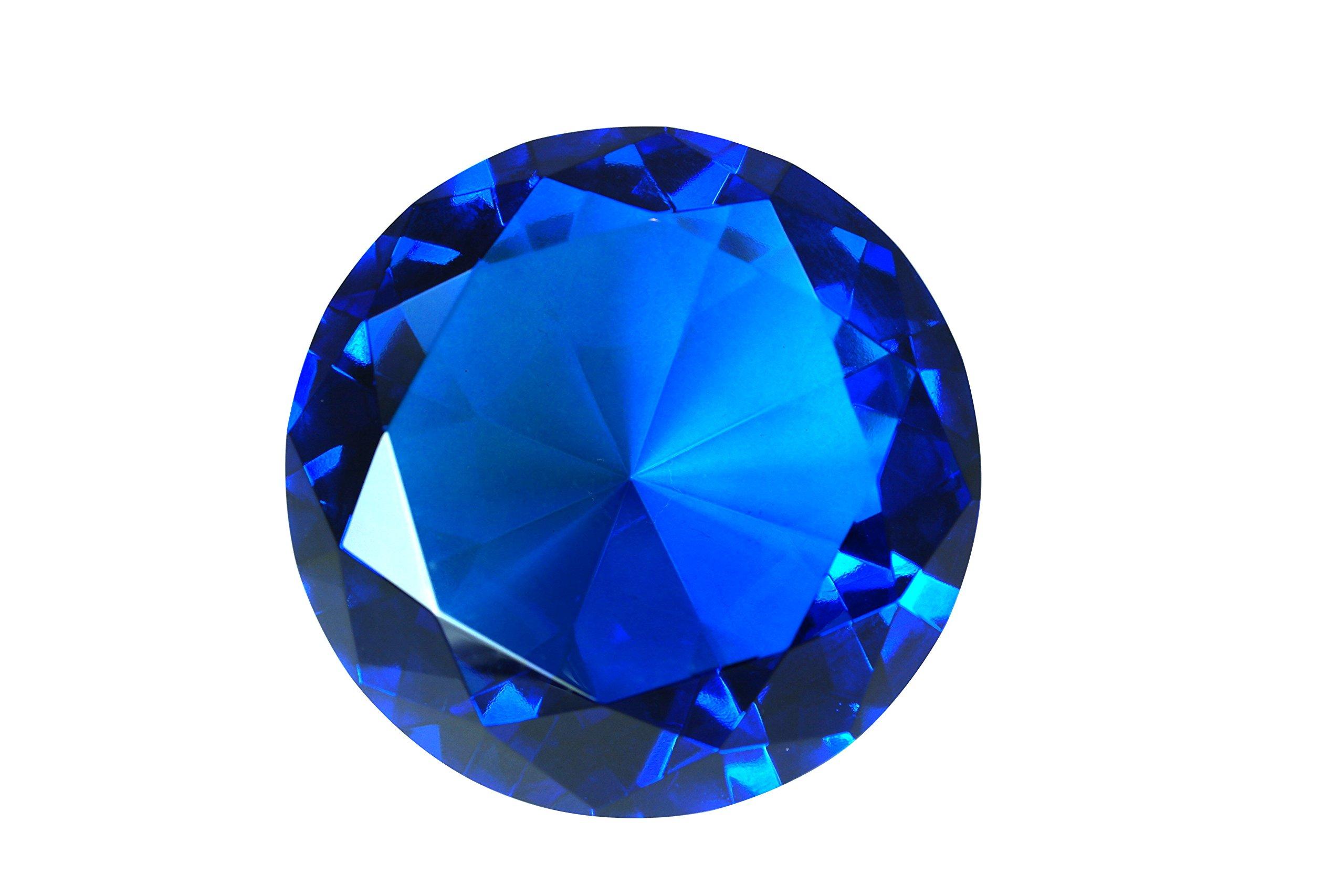100mm Sapphire Blue Crystal Diamond Jewel Paperweight 4 Inch Tripact