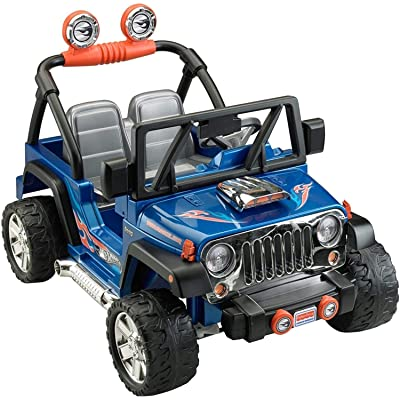 Power Wheels Hot Wheels Jeep Wrangler, Blue (12V): Toys & Games