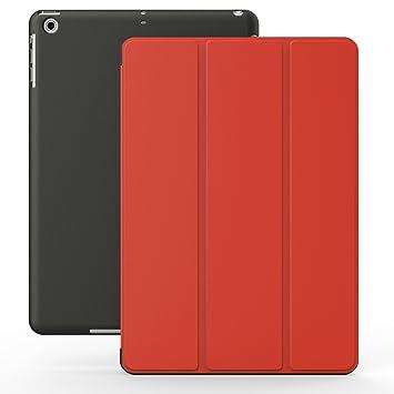 KHOMO Funda iPad 2, 3, 4 - Carcasa Roja y Negra Protectora Ultra Delgada y Ligéra con Smart Cover y Soporte para Apple iPad 4 Retina, iPad 3, iPad 2 - ...