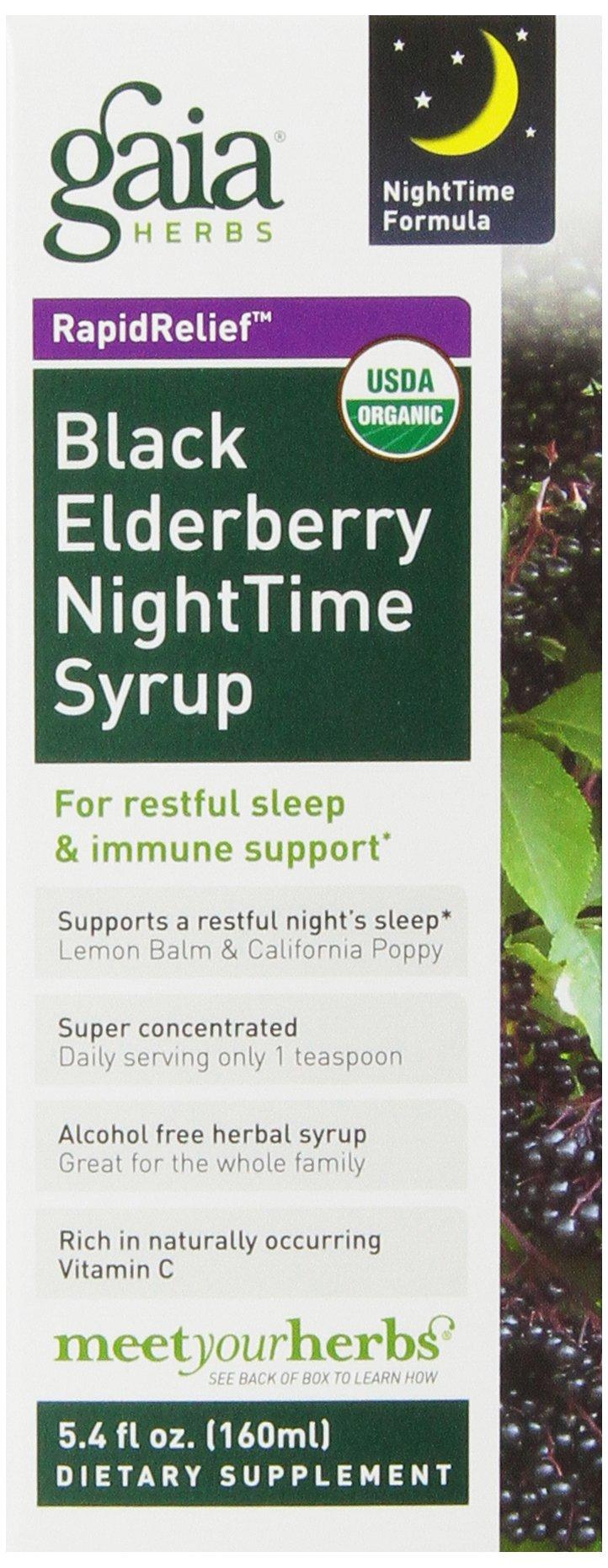 Gaia Herbs Black Elderberry NightTime Syrup, 5.4-Ounce Bottle